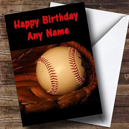 Pelota de béisbol y guante personalizado tarjeta de cumpleaños ...