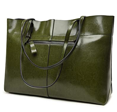 8c6200f18c Covelin Women s Handbag Genuine Leather Tote Shoulder Bags Soft Hot  (Horizontal Army Green)