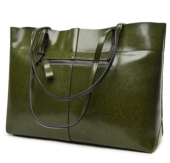 b17044900 Amazon.com: Covelin Women's Handbag Genuine Leather Tote Shoulder Bags Soft  Hot (Horizontal Army Green): Shoes