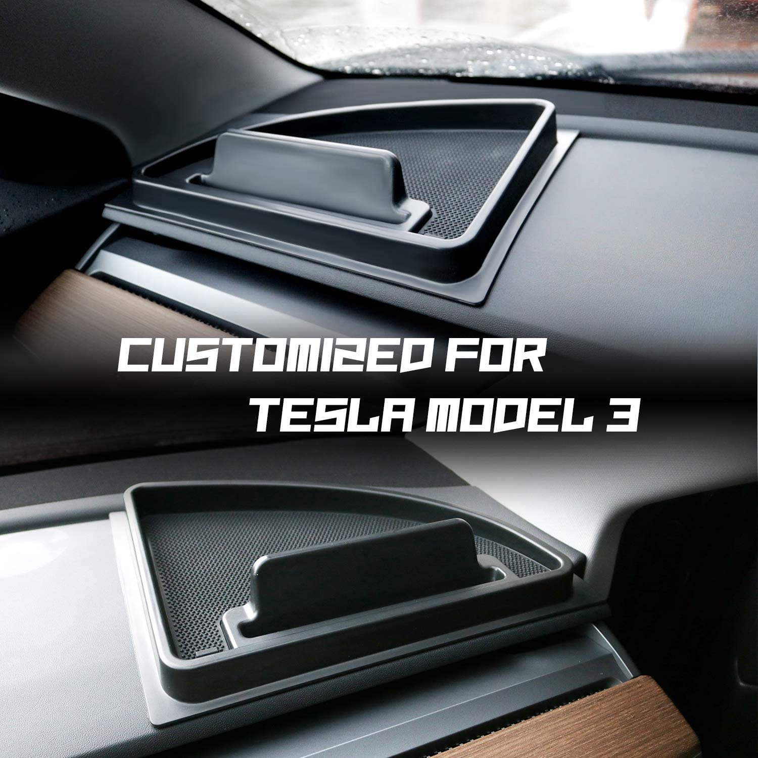 1 PCS for Right Console Sunglasses Console Storage Box for Cell Phone CDEFG Car Dash Grip Tray Dashboard Organizer for Tesla Model 3 Non Slip Black Rubber Keychains