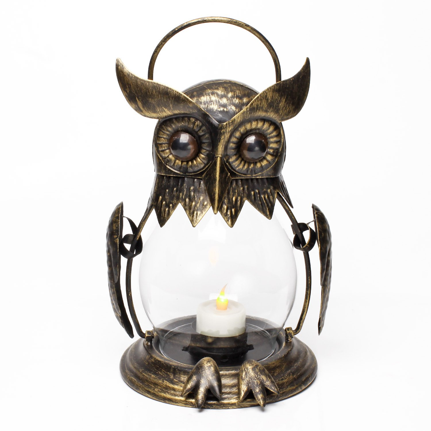 Tealight Included Owl Lover Birthday Gift Vintage Owl Hanging Lantern for Outdoor /& Indoor Party D/écor Red Bronze