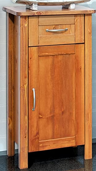 Unterschrank Badezimmer-Schrank Massivholz Kiefer massiv Honigfarben ...
