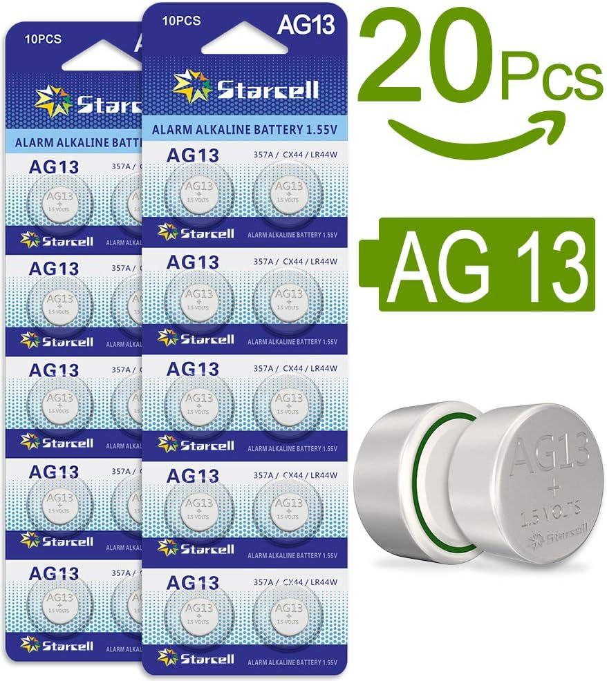 20 Stück Knopfbatterien AG13//LR44 Battery 1.55V LED Knopfzelle Batterie Neu
