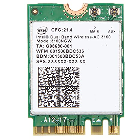 Intel Dual Band Wireless-AC 3160 3160NGW 802.11ac/a/b/g/n BT4.0 NGFF Wifi Card 2.4/5.8Ghz