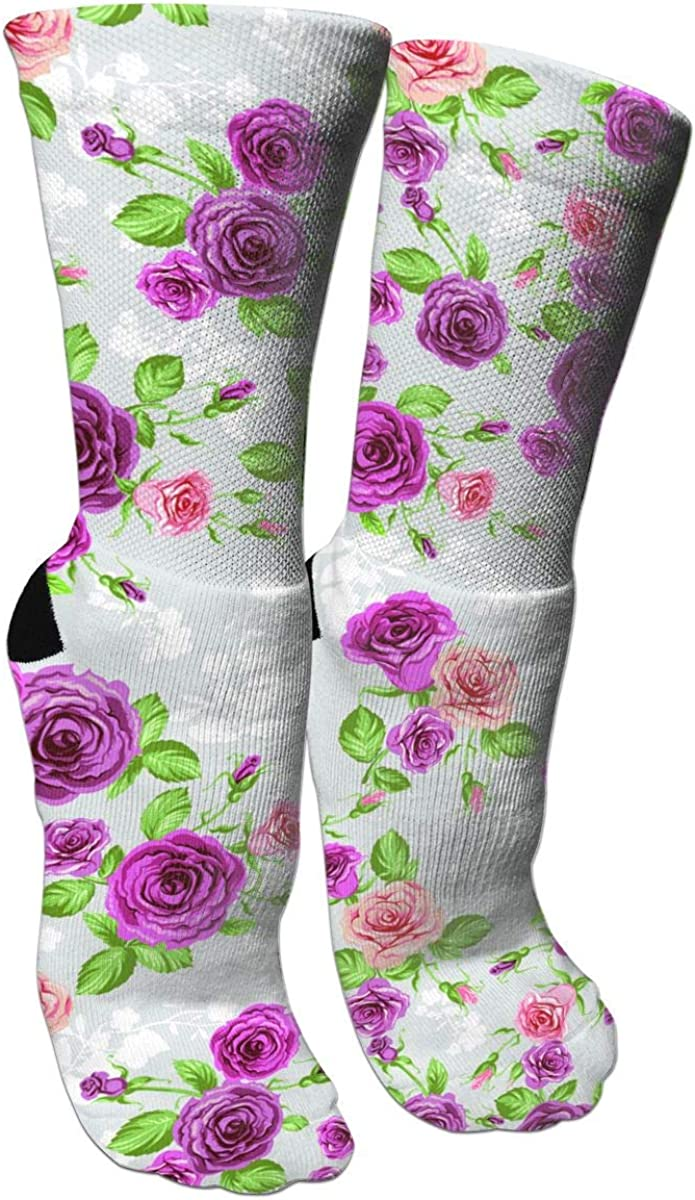 Rose Pattern Casual Socks Crew Socks Crazy Socks Soft Breathable For Sports Athletic Running