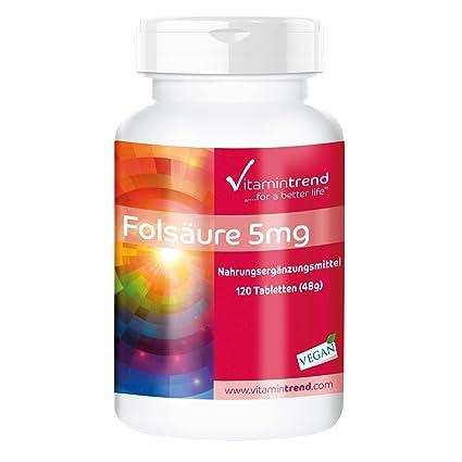 Ácido fólico 5mg – solo 1/4 tabletas al día – vegano – alta dosificación