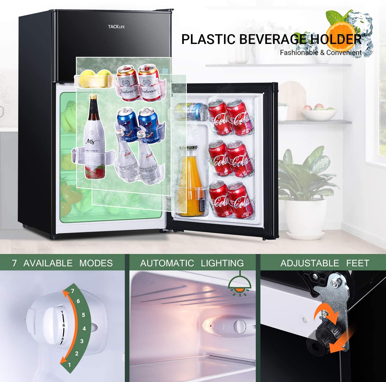 HPBFR310 Dorm Ideal Small Refrigerator for Bedroom TACKLIFE 2 Door Mini Fridge with Freezer With LED Light Office RV 3.1 Cu.Ft Black