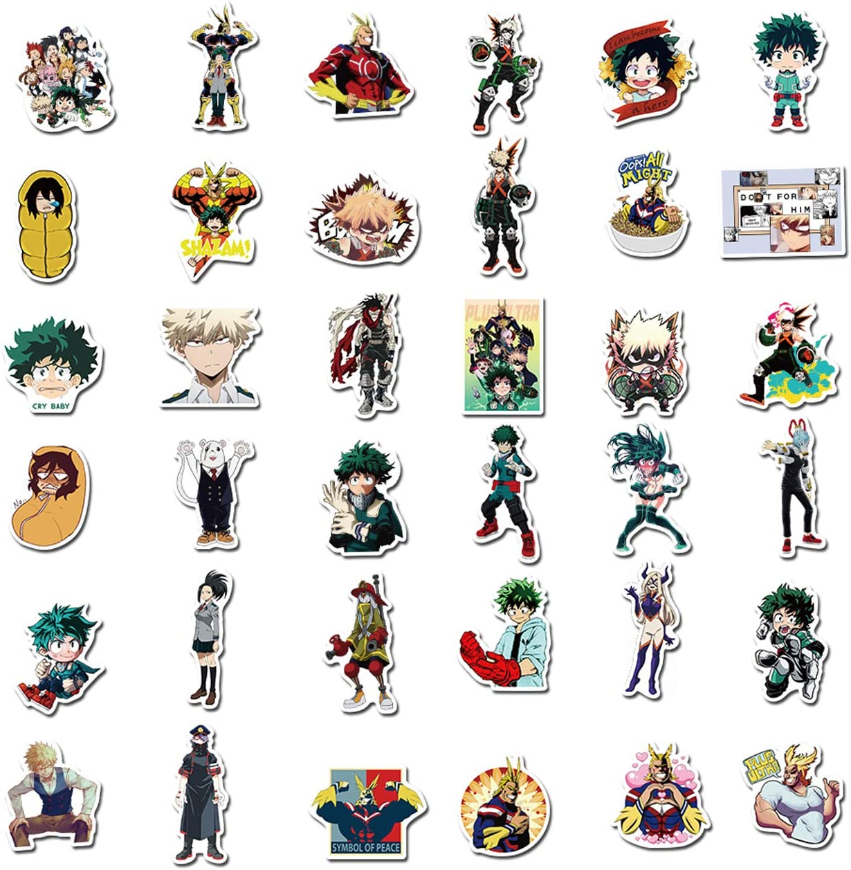 My Hero Academia Sticker 50pcs Cool Anime Stickers for Computers Laptop Skateboard Stickers for Kids Teens Adults Laptop Skateboard Guitar Luggage Vinyl Decal Stickers Packs