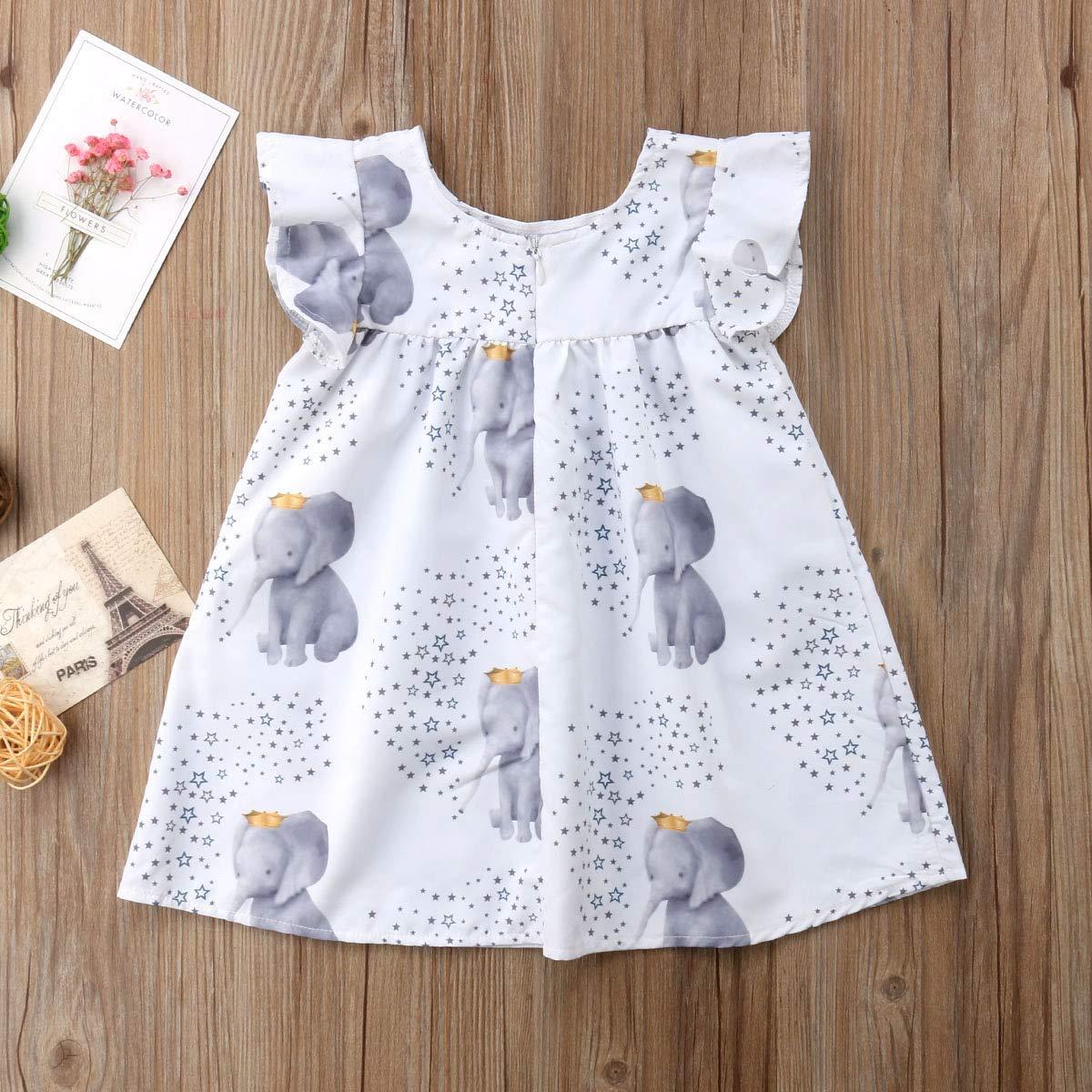 Toddler Baby Girl Kids Elephant Stars Cute Ruffle Summer Sleeveless Dress