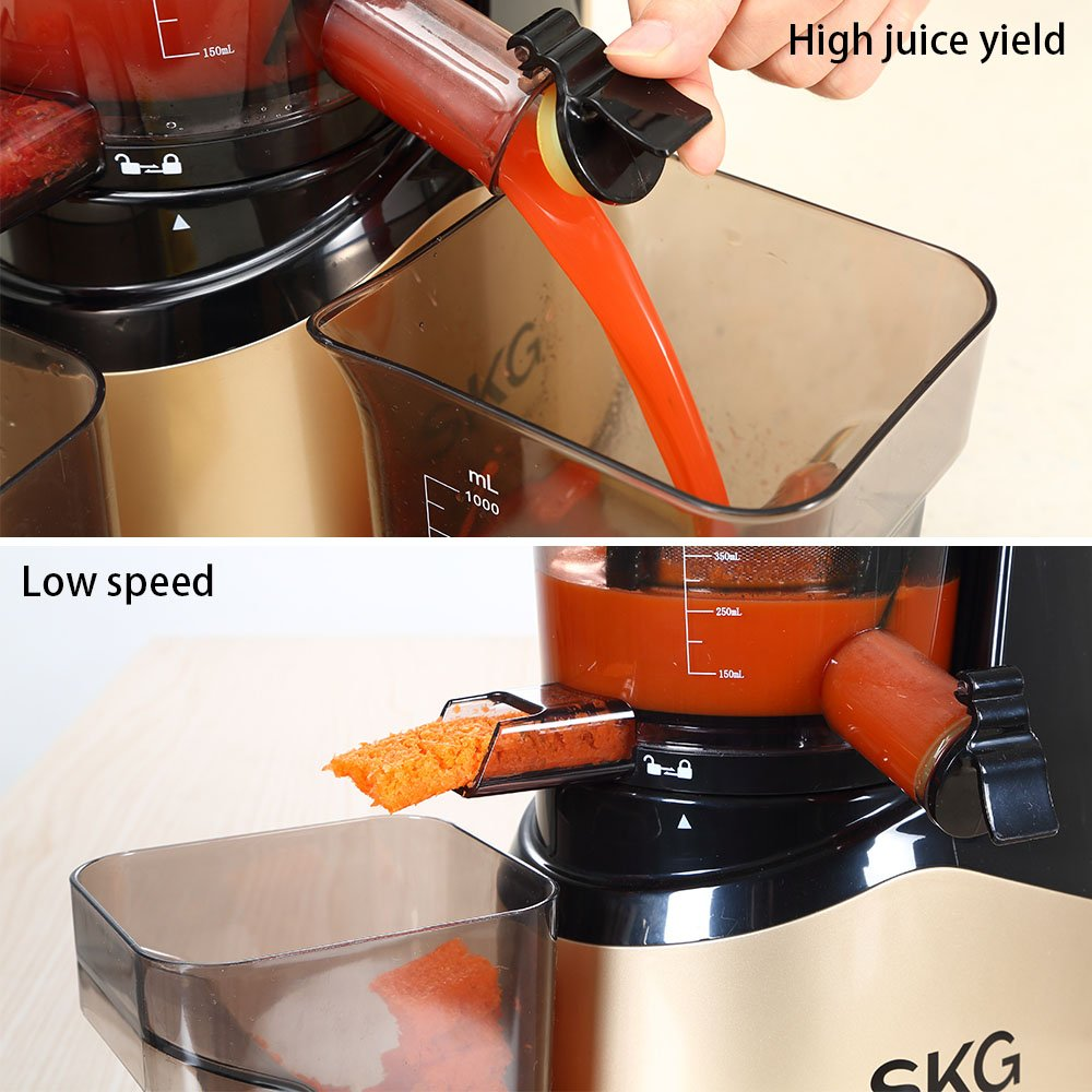 SKG Slow Masticating Juicer Extractor with Wide Chute (240W AC Motor, 43 RPMs, 3'' Big Mouth) Anti-Oxidation Lower Noisy - Vertical Masticating Cold Press Juicer-Champagne by SKG (Image #5)