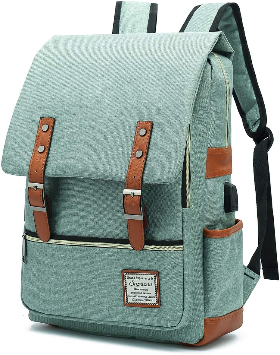SUPEASE Vintage Slim College School Laptop Backpack with USB Charging Port for Women Men, Green
