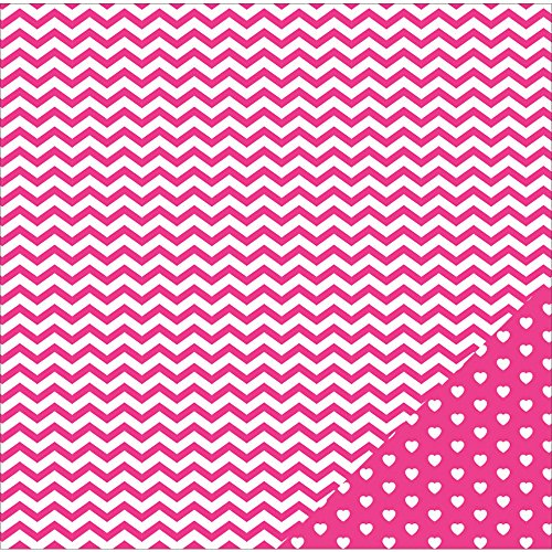 American Crafts 12pc AMC Paper 12x12 Basics Chevron Pink -