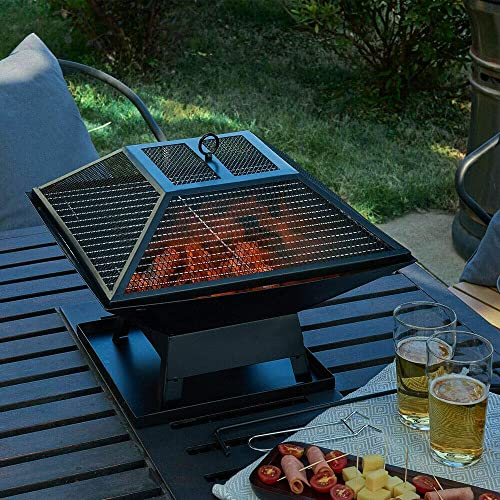 Outdoor BBQ Grill Brazier Metal Patio Heater Firepit Stove Fire Pit W/Cover Square Table Backyard Patio Garden Stove Wood Burning Fireplace