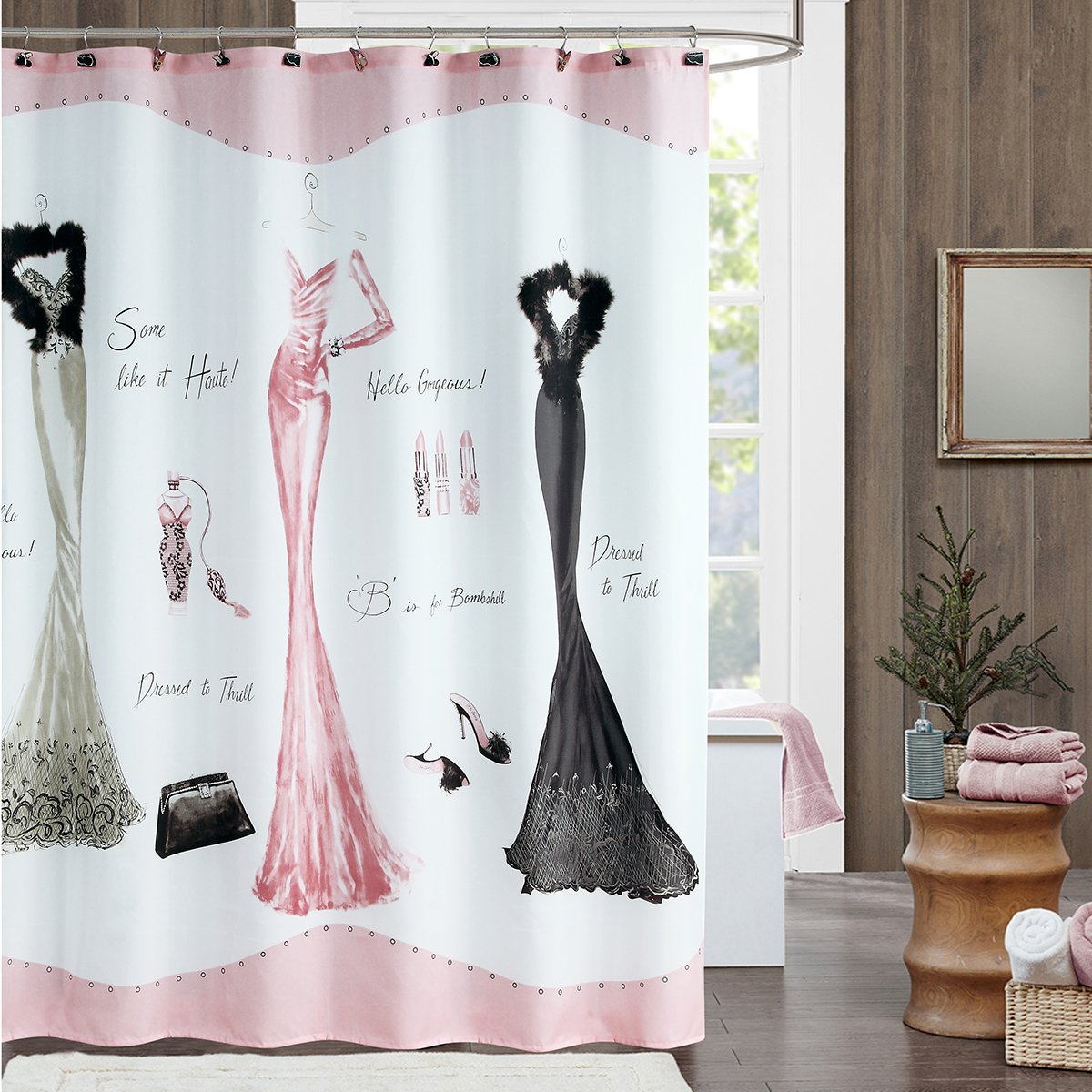 DS BATH Haute Pink Shower Curtain,Mildew Resistant Shower Curtain,Print Shower  Curtains For Bathroom,Cute Bathroom Curtains,Waterproof Polyester Fabric ...