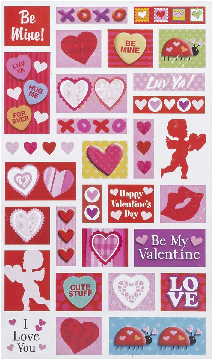 2 Sheets Amscan Valentines Day Printed Paper Sheet Stickers Party Favour 8 x 4 8 x 4 TradeMart Inc Multi Color 159102