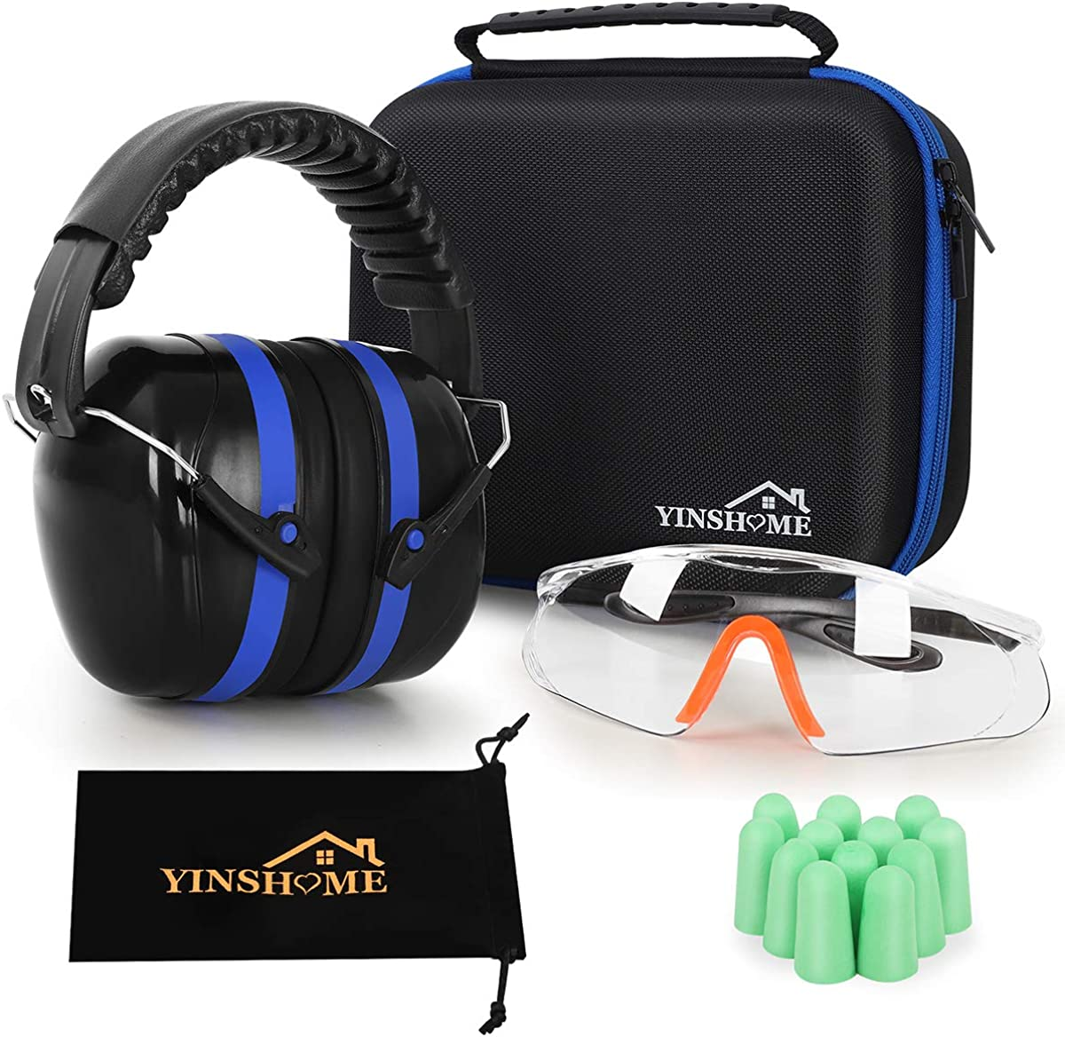 YINSHOME Shooting Ear Protection Earmuffs, Gun Safety Glasses, Earplugs, Protective Case