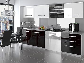 naka24 NEU Komplette Küche KOMPAKTO II 180 cm Hochglanz Verschiedene  Farbkombinationen (Weiss - Schwarz)