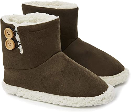Dunlop Ladies Womens Slippers Full Bootie Boots Faux Fur Memory Foam Sizes 3-8