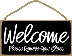 Honey Dew Gifts Black Welcome Please Remove Your Shoes Sign - 5 x 10 inch Hanging Wall Art, Decorative Wood Sign, Home Decor