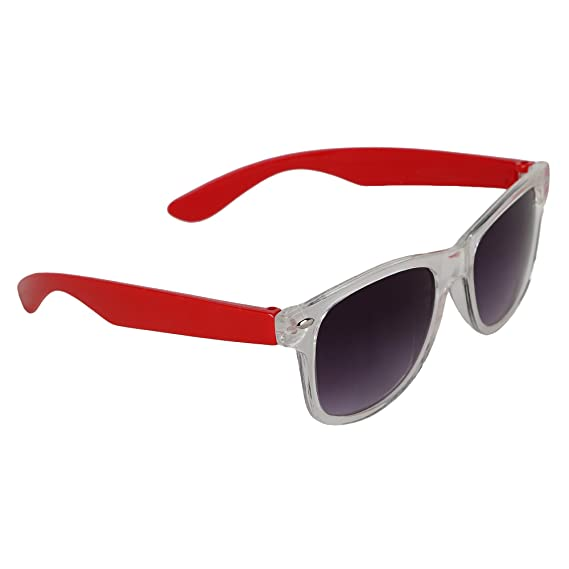 6ff0b4417bd Amour Red   Clear Full Frame Wayfarer Sunglasses with Black Lens for Kids  with Case (