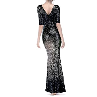 TOYIS Women Sparkling Gradient Sequin Mermaid Gowns Cap Sleeves Evening Dress Prom Dress: Amazon.co.uk: Clothing