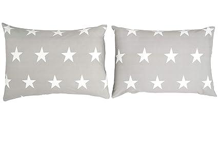 Bloomsbury Mill - Juego de cama para niño - Juego de 2 fundas de almohada adicionales- Estampado de estrellas grises y blancas