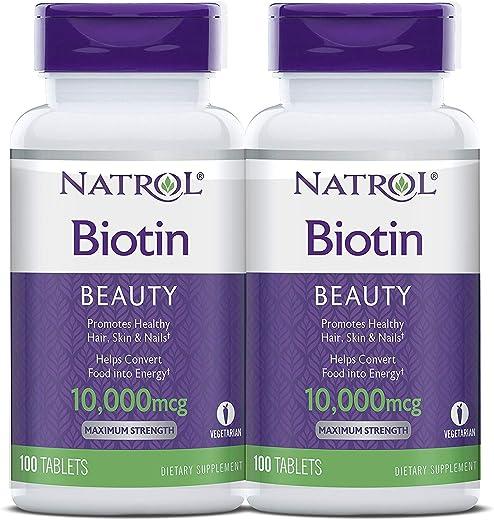 مكمل غذائي بيوتين، 10,000 ميكروجرام، عبوة من زجاجتين، 100 قرص في كل عبوة من ناترول