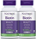 Natrol, Biotin, 10,000 mcg, Pack of 2 Bottles, 100 Tablets Each