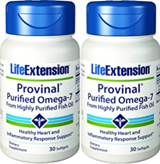 Life Extension Provinal Purified Omega-7, 30 Softgel 210 mg(Pack of 2