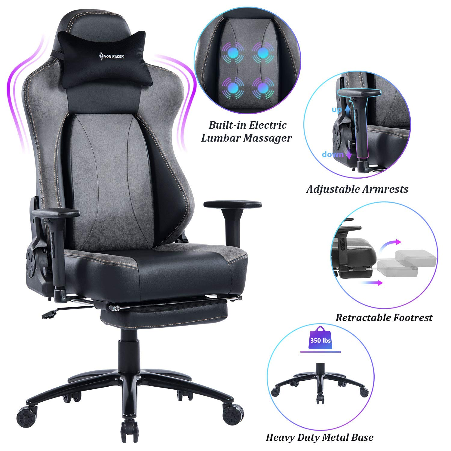 VON RACER Big Tall 350lbs Massage Gaming Chair with Retractable Footrest – Adjustable Back Angle and Arms Ergonomic High-Back Leather Racing Executive Computer Desk Office Chair Metal Base, Gray