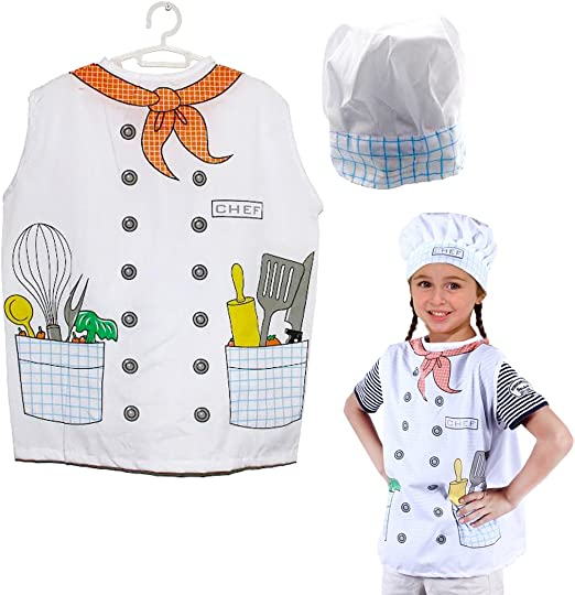 Dazzling Toys Christmas Costume Kids Pretend Play Chef Costume Set Vest and Hat