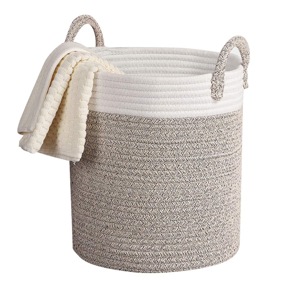 Storage Baskets Woven Basket, 13''x 15'' Cotton Rope Decorative Baskets for Towel, Laundry, Magzine, Gift Basket