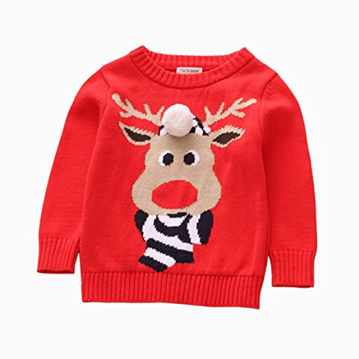 baby girl boy elk ugly christmas sweater toddler pullover sweatshirt 90 red