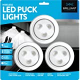 Brilliant Evolution BRRC153IR Wireless LED Puck Light 3 Pack - Works With Remote - Operates On 3 AA Batteries - Kitchen Under Cabinet Lighting