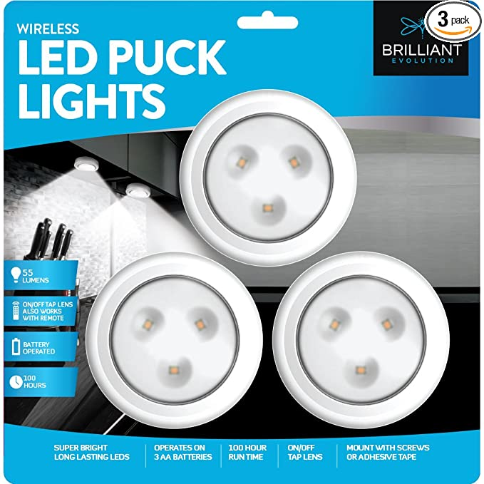 Brilliant Evolution Wireless Led Puck Light 3 Pack | Works With Remote Control | Led Under Cabinet Lighting | Closet Light | Battery Powered Lights | Under Counter Lighting | Stick On Lights by Brilliant Evolution