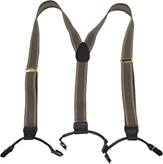 product image for Holdup Brand Tan and Taupe Jacquard Weave Double-Up Suspenders with Patented Black No-slip Clips