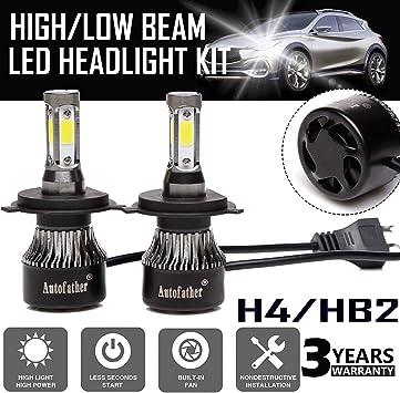H4 COB LED Conversion Headlight Bulbs Kit High Low Beam 6000K