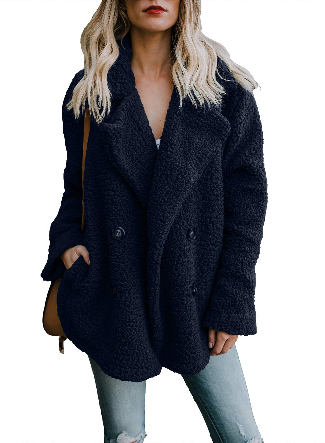 Dokotoo Womens Plus Size Fleece Open Front Loose Long Sleeve Casual Winter Ladies Coat Fashion Button Fluffy Outerwear Jackets with Pockets Navy XX-Large