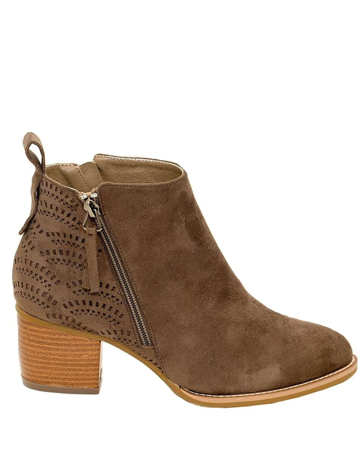 bc0323065 well-wreapped GC Shoes Women's Adele Laser Cut Stacked Heel Ankle Booties