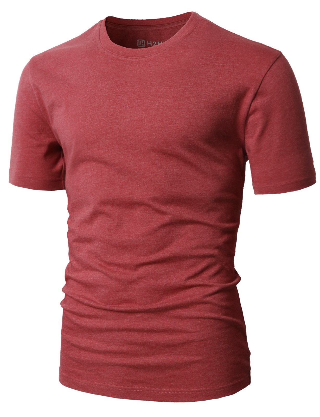 H2H Mens Business & Daily Item Fine Soft Cotton Crew Neck T-Shirt Maroon US S/Asia M (CMTTS0198) by H2H (Image #1)