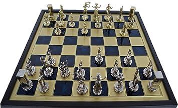 Case Blue Board Game : Minoan period gold silver chess set wooden case blue brass board