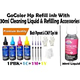 GoColor Premium Best High Quality HP Compatible Inkjet Refill Ink Bottle Kit Black Pigment & CMY Dye Ink with 4 Color in 100 ml + & 30ml Cleaning Liquid Bottle Extra with 4 Syringe and 4 needles 2 Gloves & 2 Napkin for HP Inkjet & DeskJet Printer