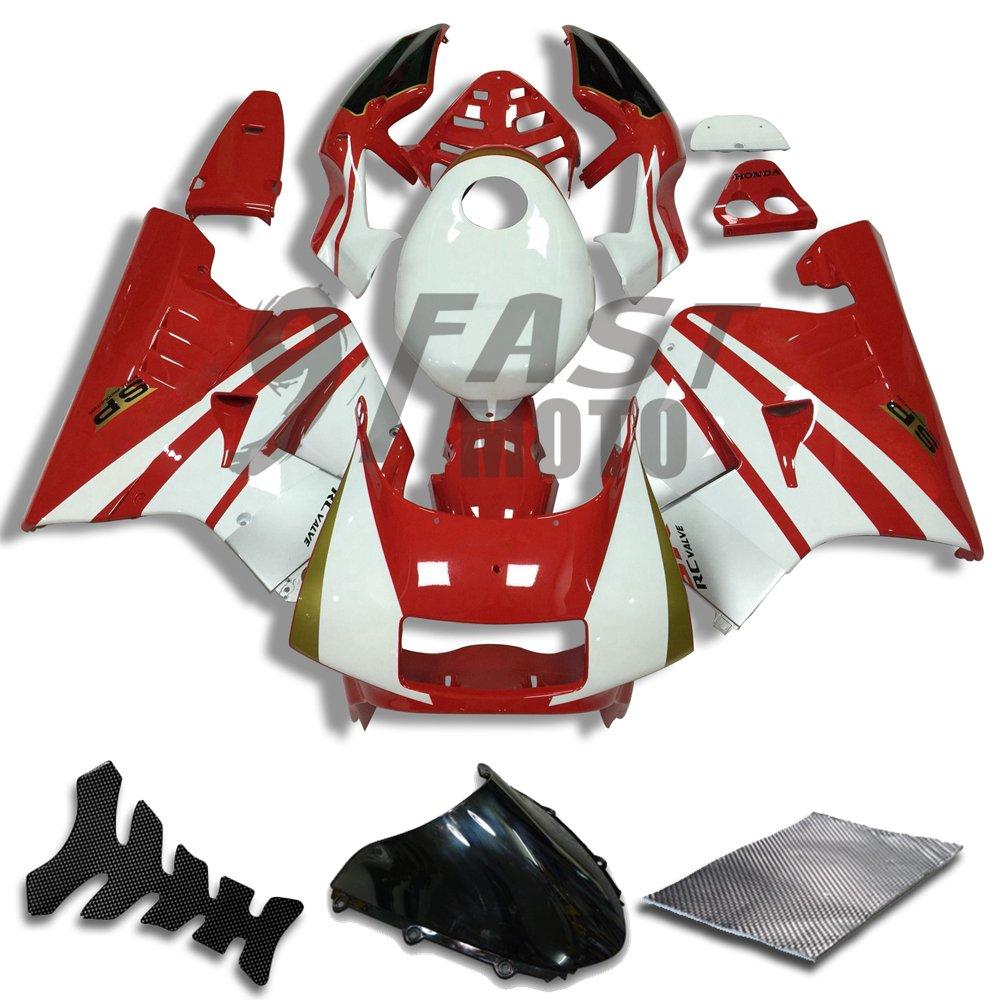 9FastMoto honda ホンダ 90 - 93 NSR250R MC21 SP P3 1990 1991 1992 1993 NSR250 R 用フェアリング オートバイフェアリングキット ABS 射出成形セット スポーツバイク カウル パネル (レッド & ホワイト) H0957   B07BMX7C5G