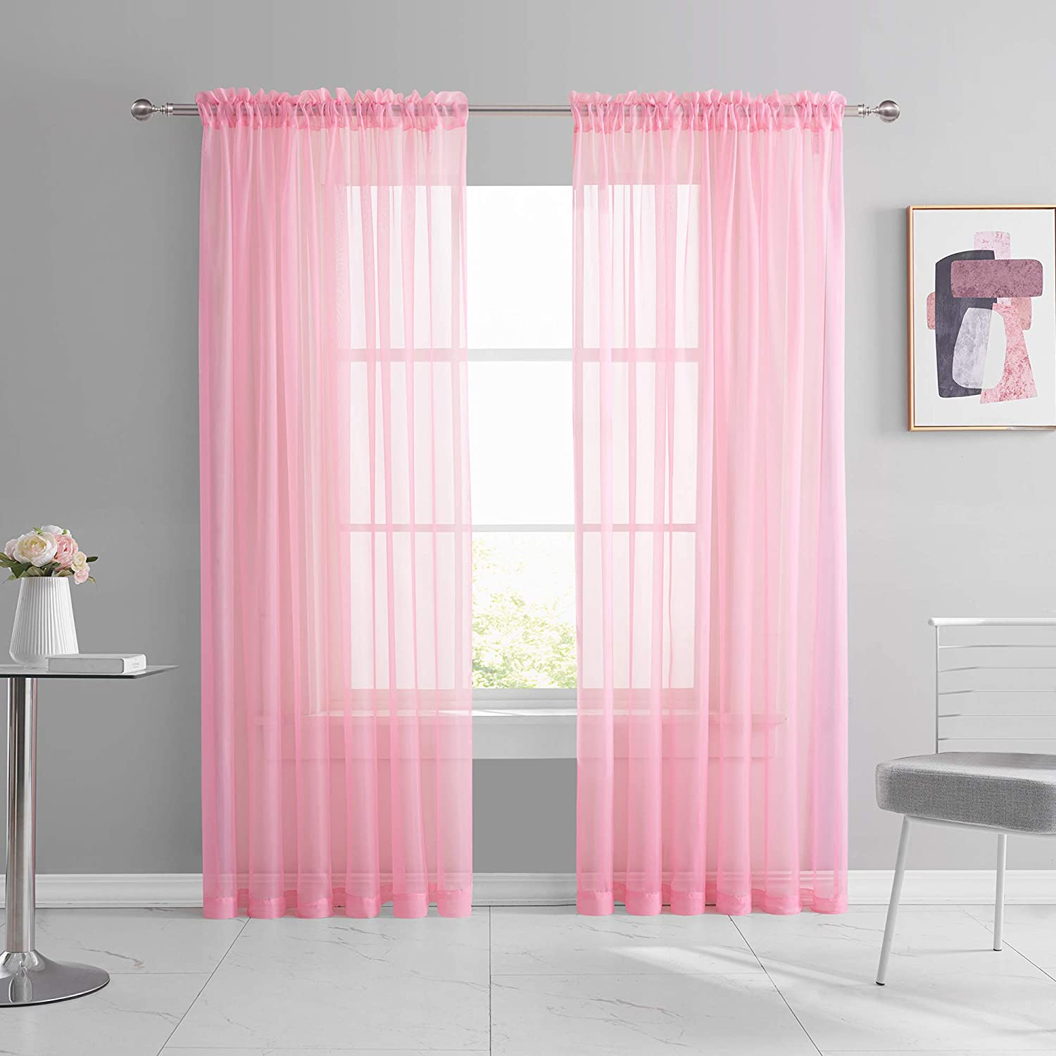 Amazon Com Keqiaosuocai 2 Pieces Pink Sheer Curtains 84 Inch Length For Girls Kid Room Nursery Bed Canopy Rod Pocket Sheer Voile Curtain Panels For Wedding Party Backdrop Bedroom Living Room 52wx84l Kitchen