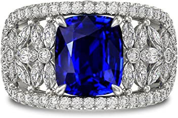 5.07Cts Sapphire Gemstone Engagement Ring Set in Platinum White Gold Size 6.50