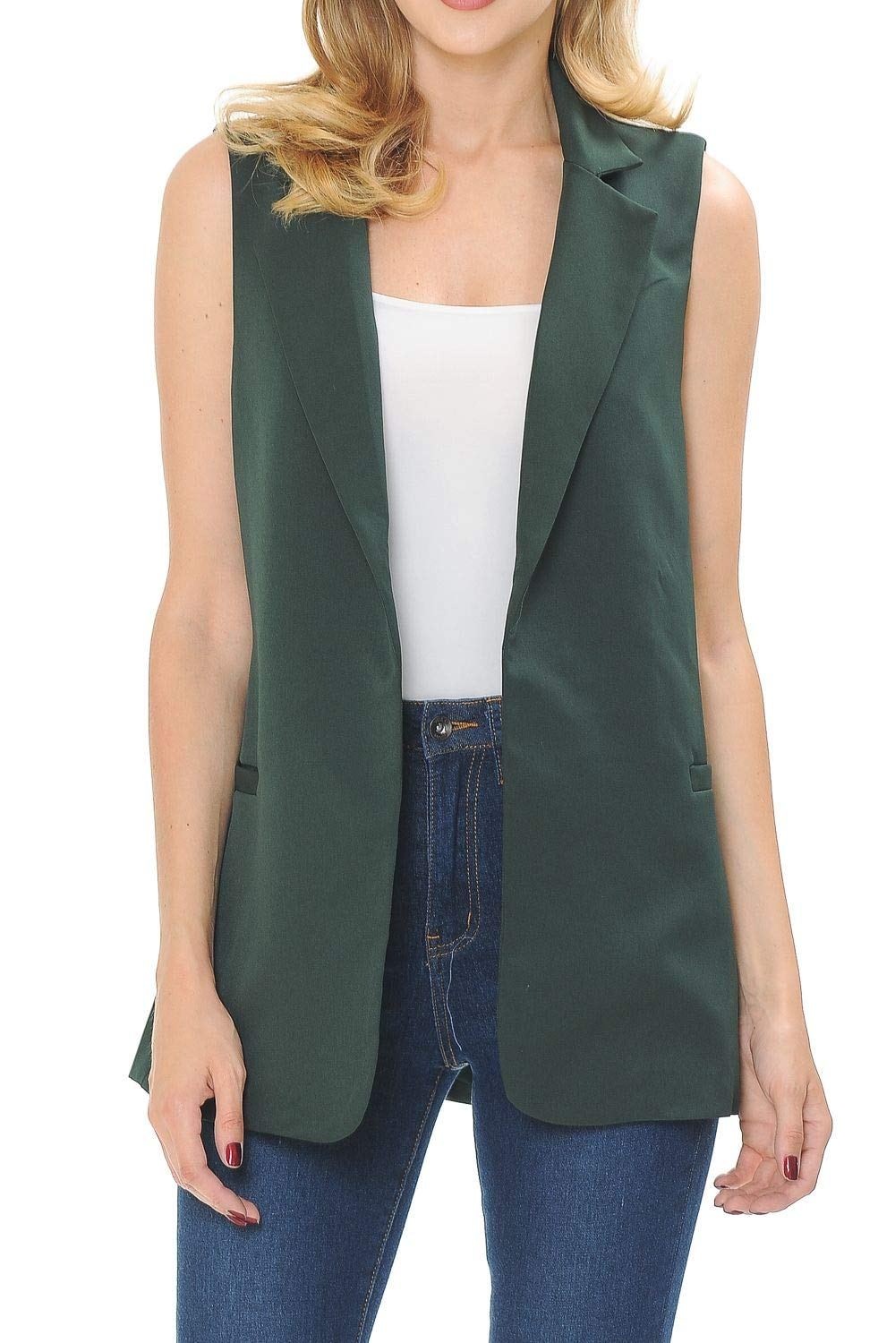 Auliné Collection Womens Work Casual Open Front Notched Lapel Collar Blazer Vest Hunter Green Small by Auliné Collection