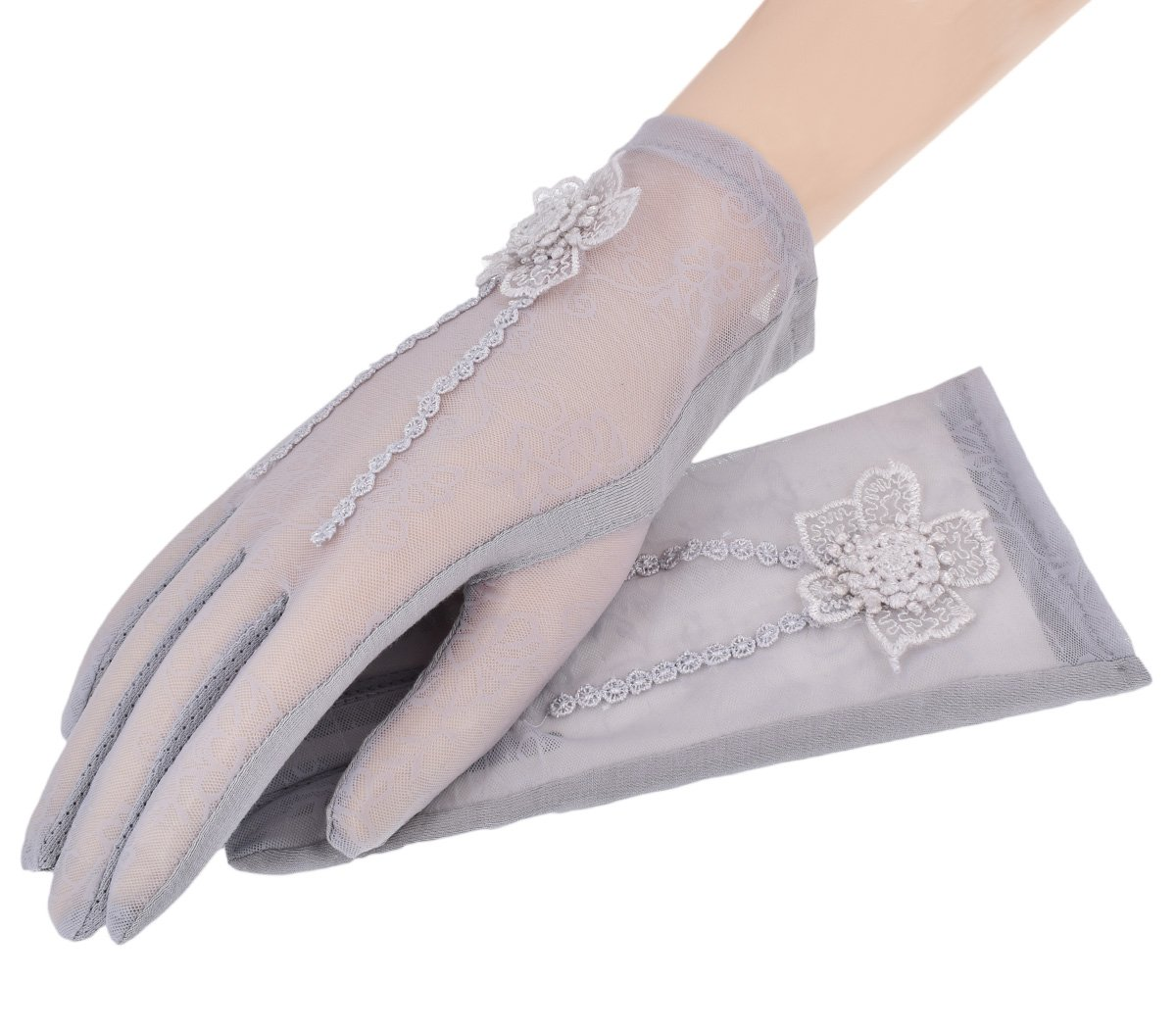 Nurbijar Summer Women UV Protection Touch Screen Lace Gloves-Grey