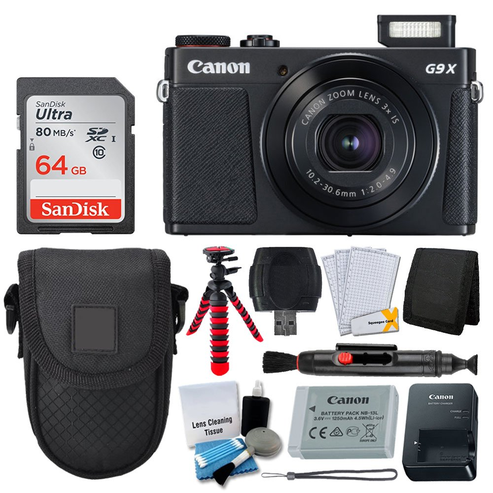 Canon PowerShot G9 X Mark II Digital Camera (Black) + SanDisk 64GB Memory Card + Point & Shoot Case + Flexible Tripod + USB Card Reader + Cleaning Kit + LCD Screen Protectors + Deluxe Accessory Bundle by PHOTO4LESS