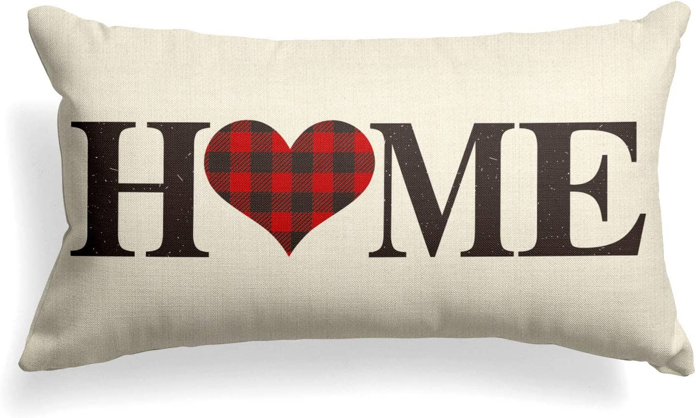 AVOIN Buffalo Plaid Home Throw Pillow Cover, 12 x 20 Inch Love Heart Holiday Valentine's Day Anniversary Wedding Cushion Case Decoration for Sofa Couch