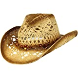 Saddleback Hats Shapeable Toyo Straw Cowboy Hat w/Beaded Trim Band, Western Cowgirl, Natural, One Size